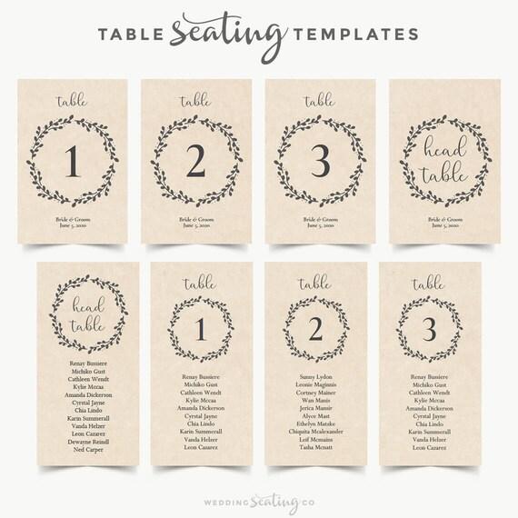 Rustic Wedding Table Numbers Editable Template Printable Kraft Etsy