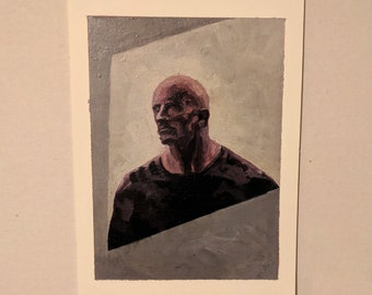 Dwayne Johnson | Original 5x7 Fan Art Acrylic Painting