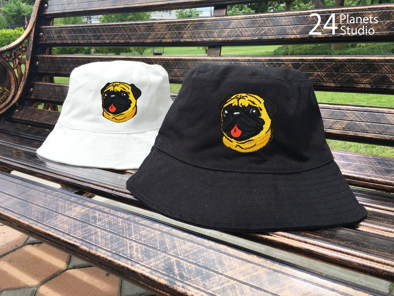 ca5832e84d4 Pug Dog Embroidered Bucket Hat by 24PlanetsStudio Pocket