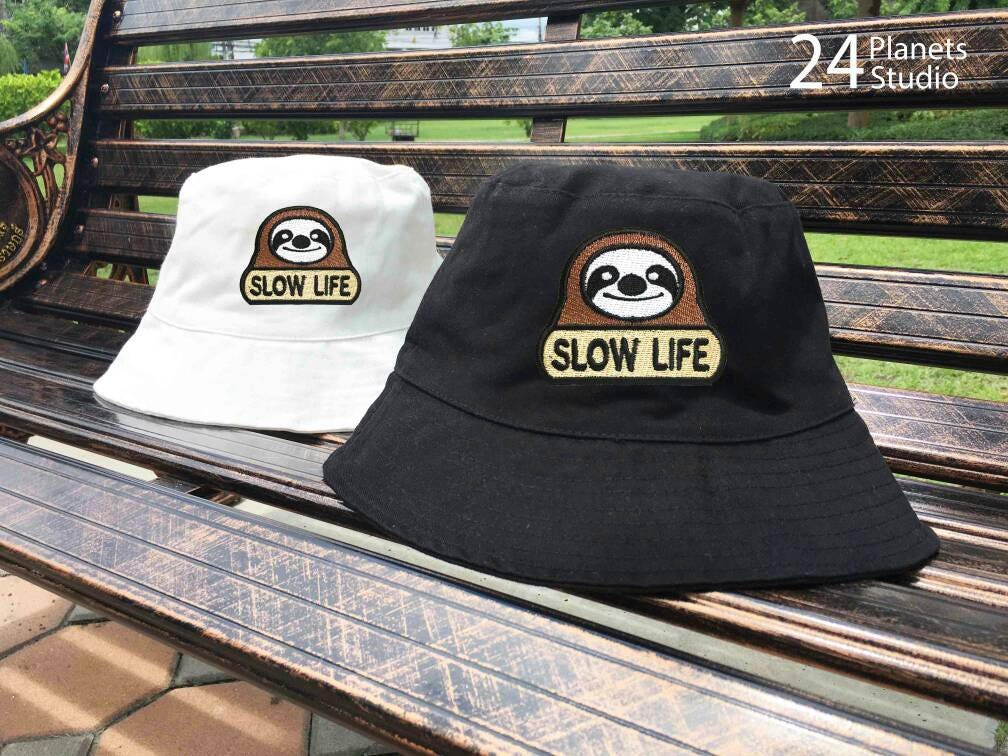 b6e2898e14a Sloth Slow Life Embroidered Bucket Hat by 24PlanetsStudio