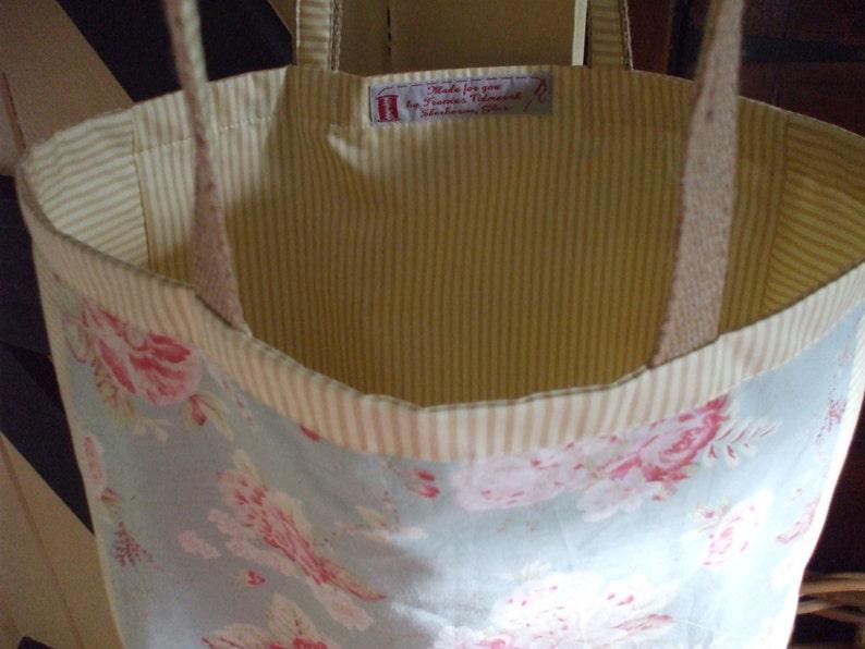 floral cotton tote bag Pretty duck egg