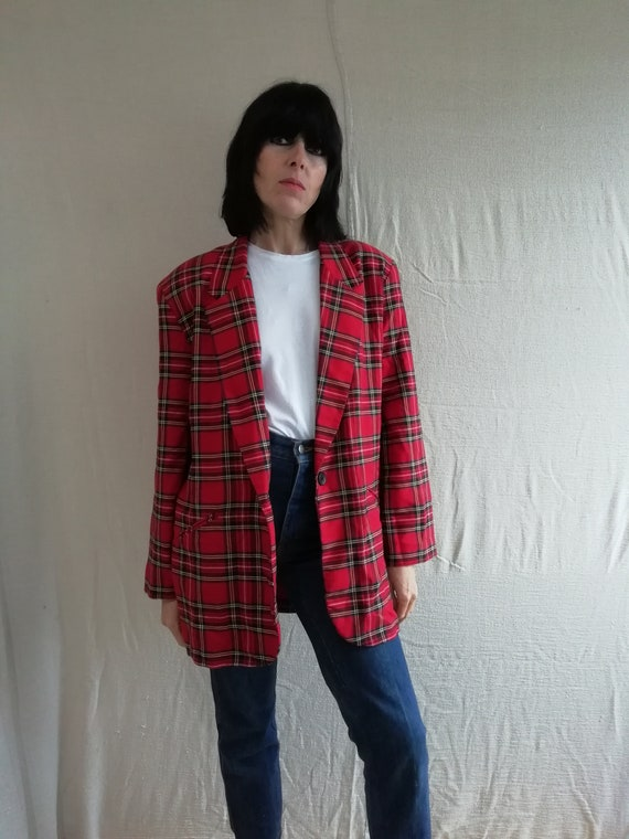 Womens red tartan /plaid oversized blazer jacket