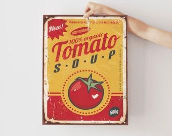 Retro Vintage Campbells Soup Framed Canvas Art Print Poster A4 A3,Cafe Kitchen