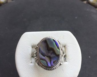 Silver and abalone ring