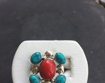 Silver, coral, and turquoise ring