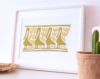 Pelicans art print giclée, Ethnical wall art, Ochre wall decor, Naive art print, A3 wall print, Ethnical birds giclée, Pelicans wall print,