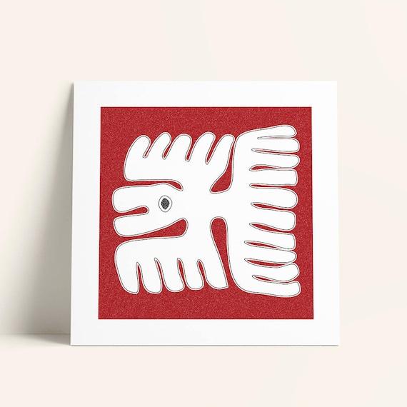 Mayan Symbol Flying Bird Wall Art Red Folk Decor 16x16 Wall Etsy