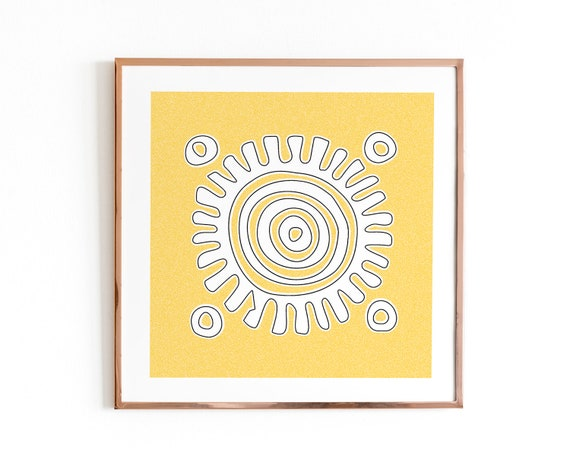 Tribal sun art print Aztec wall decor 12x12 yellow wall art