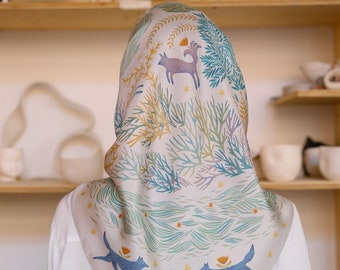 Natural silk scarf metsola, digital print