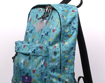 ilo fabric backpack with blue print, city modern backpack, printed fabric, any occasion backpack, everyday simple backpack,