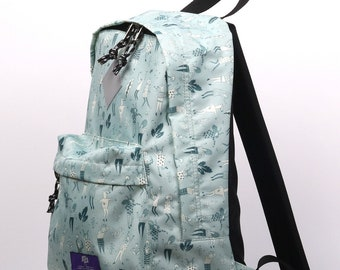 ilo fabric backpack with grey print, city modern backpack, printed fabric, any occasion backpack, everyday simple backpack,