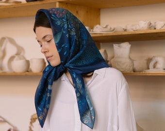 Natural silk scarf Luotola, digital print