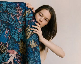 Natural silk scarf Fear, digital print