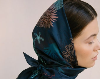 Natural silk scarf Aktinii, digital print