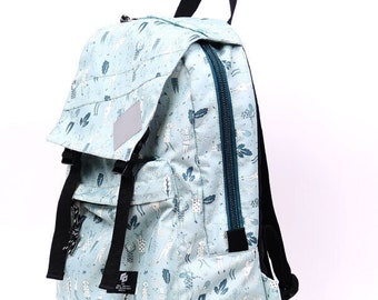 Ilo  fabric backpack with grey print, city modern backpack, printed fabric, any occasion backpack