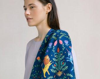 Natural silk scarf Kerka, digital print