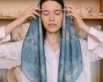 Natural silk scarf Nallekarhu, digital print