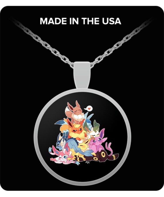 """Pokemon Eevee Character Metal//Enamel Pendant on 18/"""" Chain"""