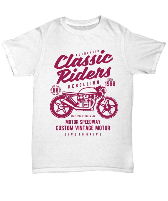 White Born to be a Biker Personalised T-shirt Tees Clothing Unisex