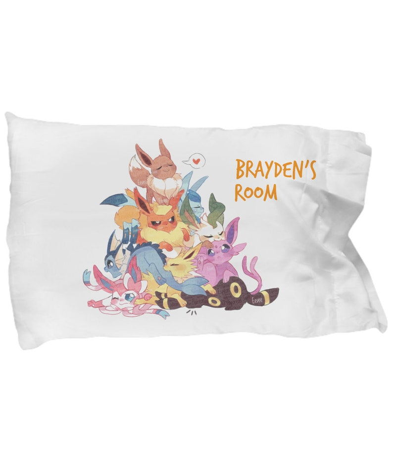 80125445 PERSONALIZED EEVEELUTIONS EEVEE Pokemon PillowCase Decoration | Etsy