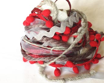 Art Fiber Bundle - Fire and Ash, Weaving, Grey and Red