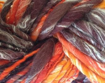 Handspun Art Yarn, Merino and Silk, thick and thin yarn