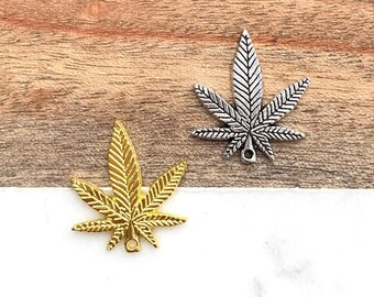 Handmade Silver Plated Small Cannabis Leaf Charm Earrings