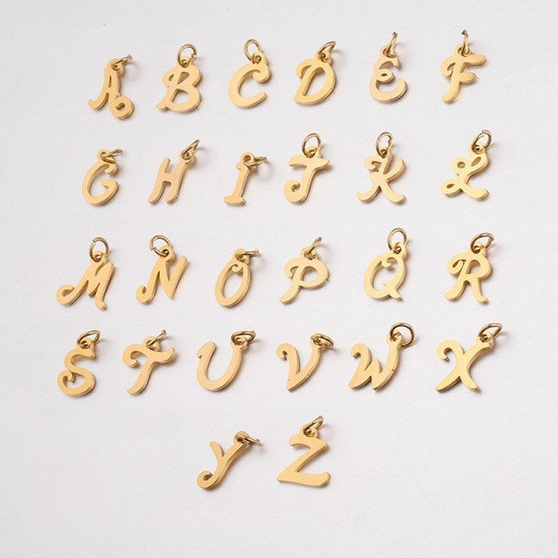 letter charm pendant for jewelry making Golden Letter Charm Stainless Steel Letter Pendant Letter charm Tarnish resistant letter charm
