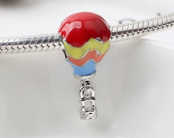 Enameled hot air balloon charm for bracelet making, hot air balloon charm for bracelet, bracelet hot air balloon charm