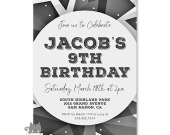 Boys 9th Birthday Invitations Invites For A Boy Printable Party Invitation OR Printed Cards Grey And Black