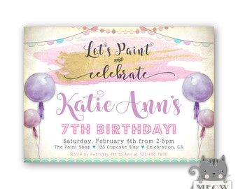 Girls Paint Birthday Party Invitations Purple Lavender Gold Lets And Celebrate 5th 6th 7th For Kids