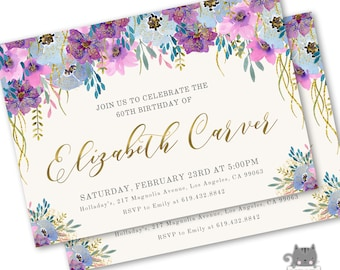 60th Birthday Invitations For Women Invitation Female Printable Or Printed Surprise Party 70th 80th Invites