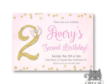 Glitter And Bow 2nd Birthday Invitations For A Girl Turning 2 Gold Confetti 1st 3rd 4th 5th 6th Girls Invites 73a