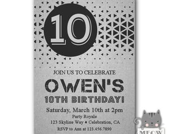 10th Birthday Invitation Boy Printable Invitations For Boys Printed Party Invite