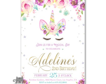 Unicorn Birthday Invitations For Girls Invites 1st 2nd 3rd Or Any Age Digital Printed