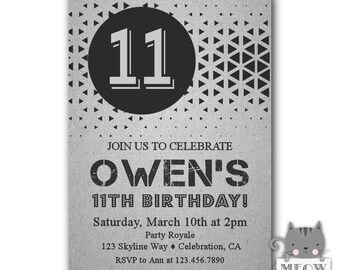Boys 11th Birthday Invitation Party Invitations For A Boy Printable Or Printed Black And Grey