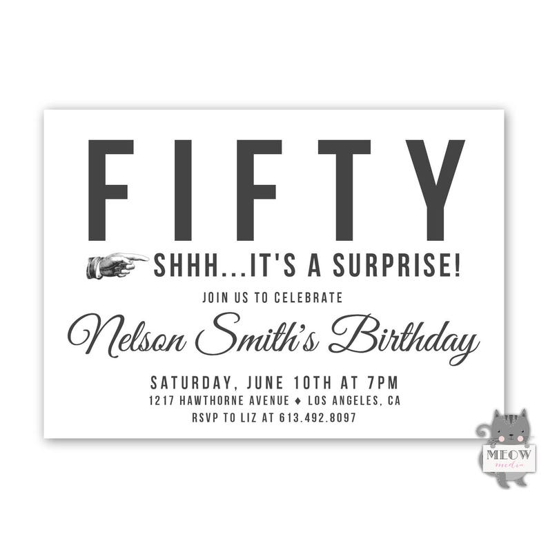 Mens Surprise Birthday Invitations 50th