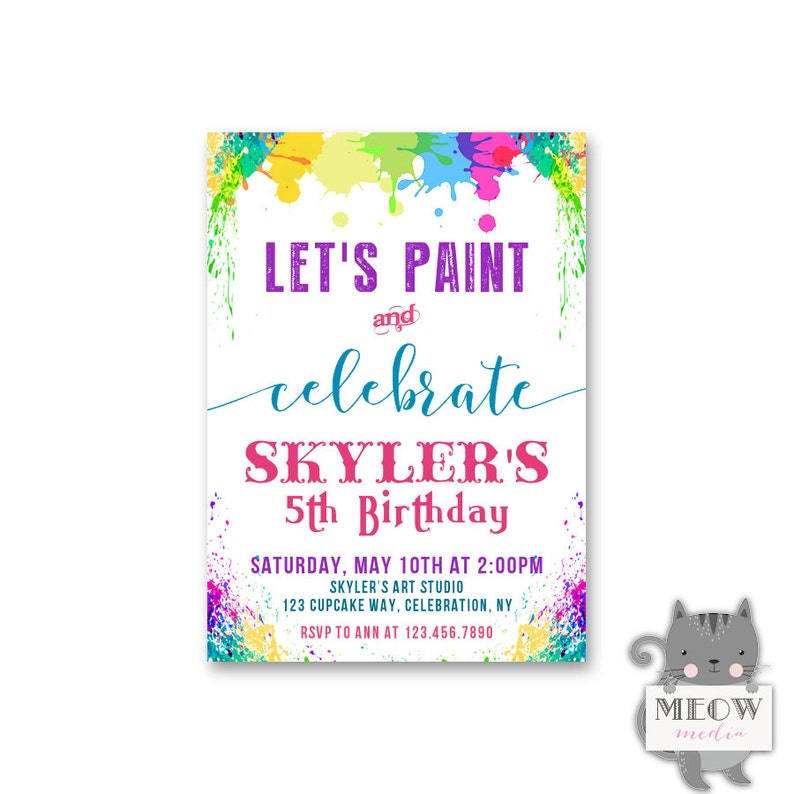 Kids Paint Party Invitations 5th Birthday
