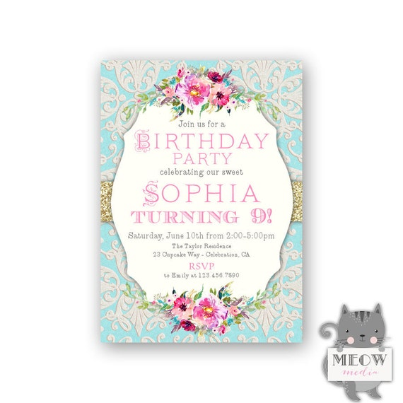 Girls 9th Birthday Party Invitations Purple Pink