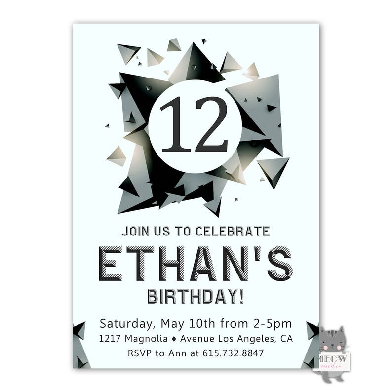 12th Birthday Invitation For A Boy Party Invite Boys B