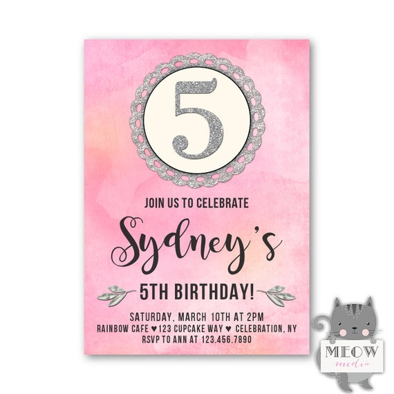 Girls 5th Birthday Invitations Kids