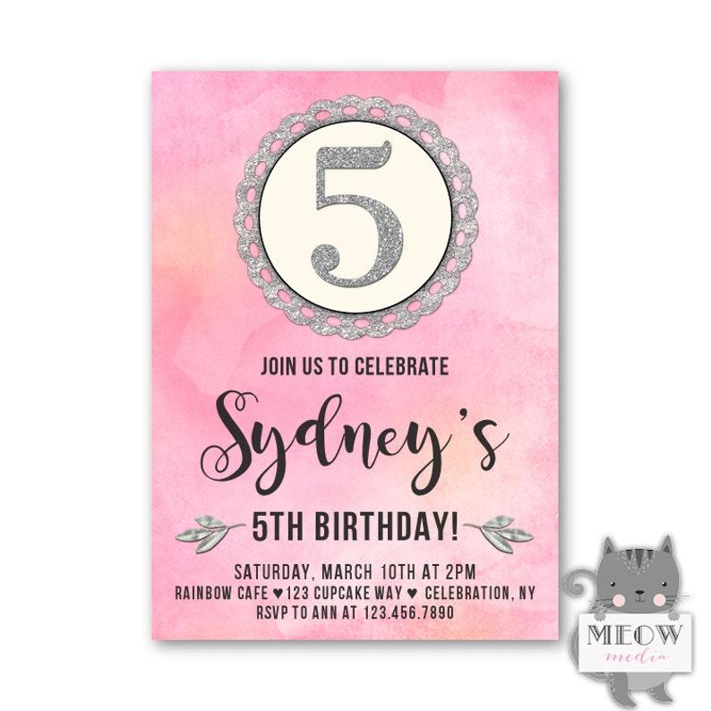 Girls 5th Birthday Invitations Kids