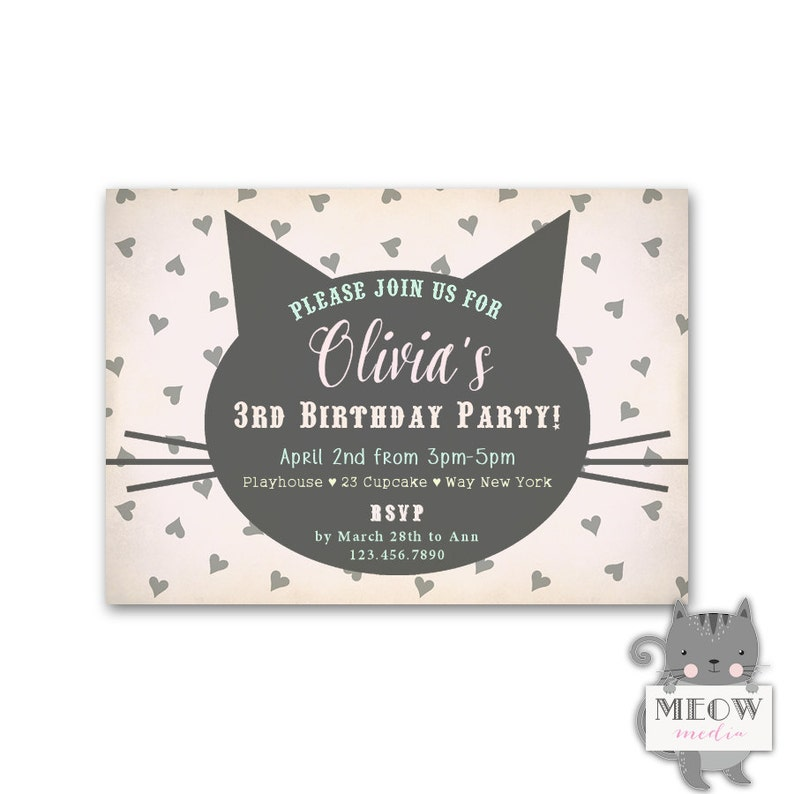 Kitty Cat Invitations Girls 3rd Birthday Invites Theme Party Hearts And Whiskers Kids 3 Years Old Or Any Age 146