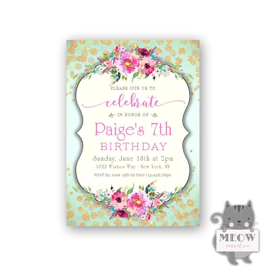 Girl\'s 7th Birthday Invitations / Gold Glitter Confetti / | Etsy