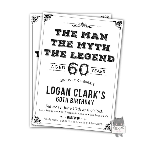 Men 60th Birthday Invitations Black And White