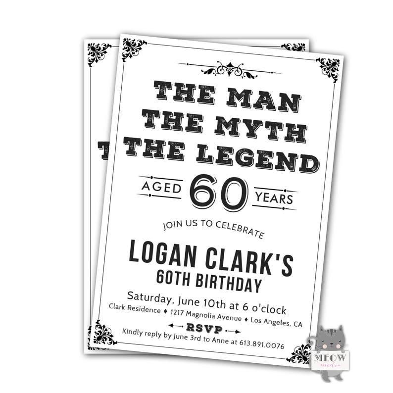 Men 60th Birthday Invitations Black And White