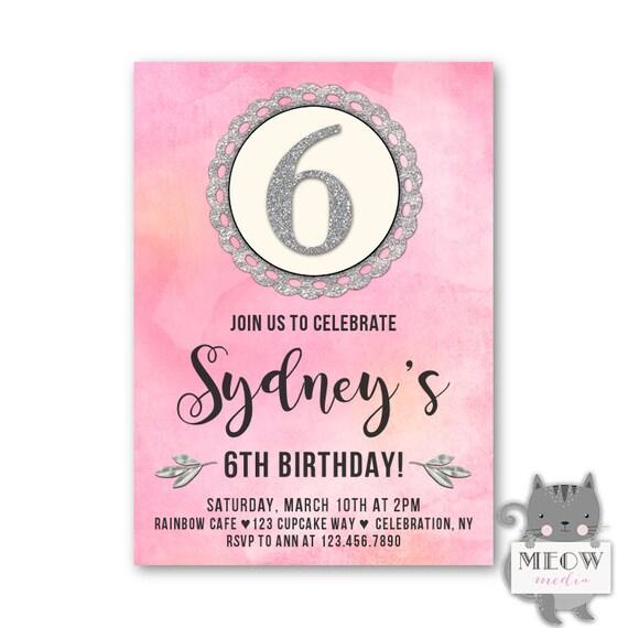 6th Birthday Invitations Girls Party Invites
