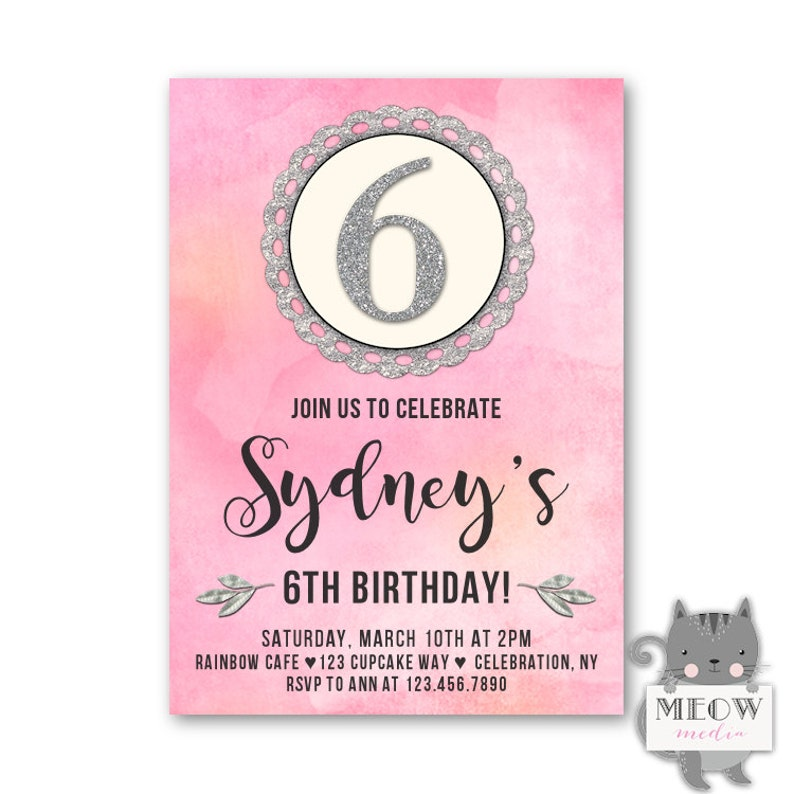 6th Birthday Invitations Girls Party Invites