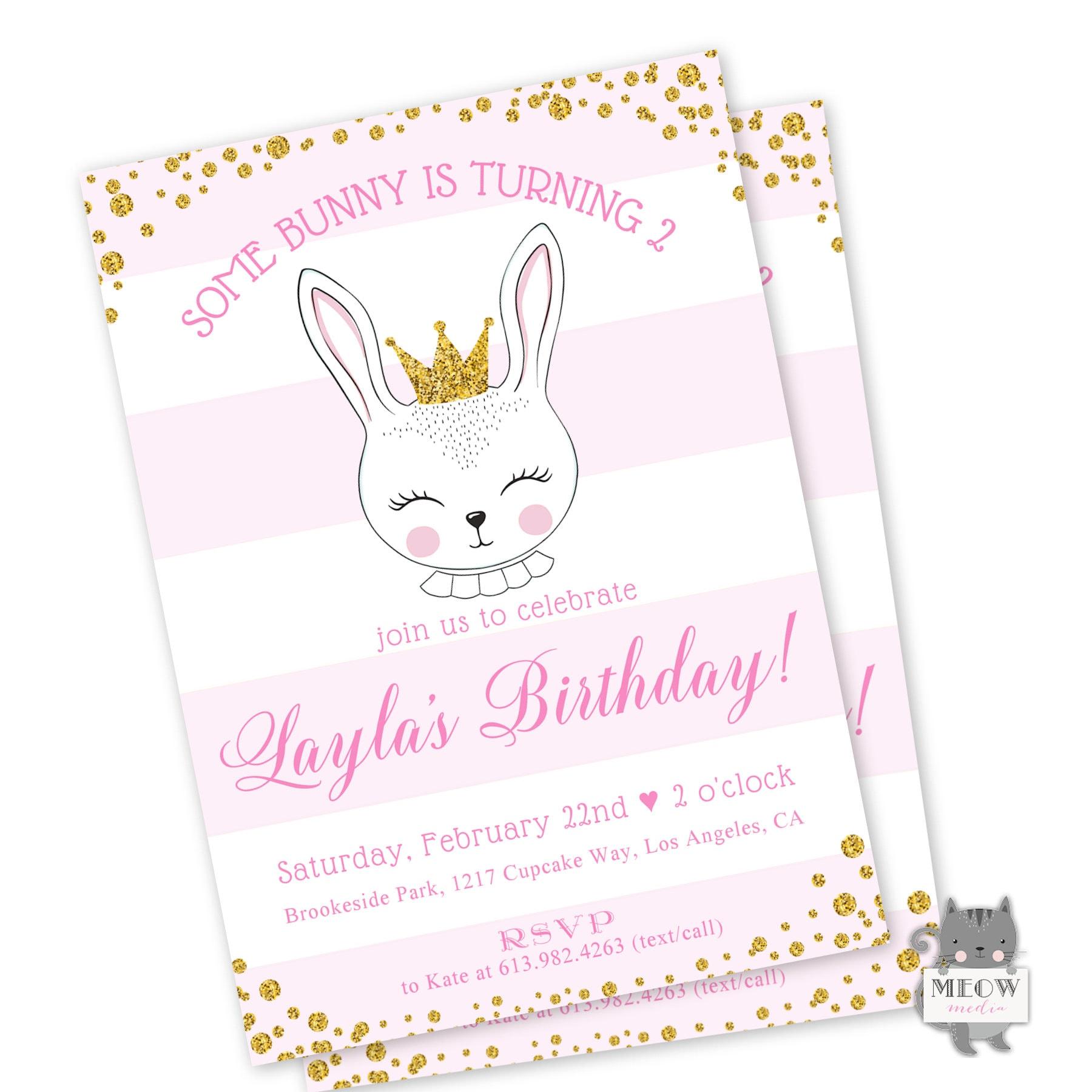 Rabbit Birthday Invitation Bunny Birthday Invitation Pink | Etsy