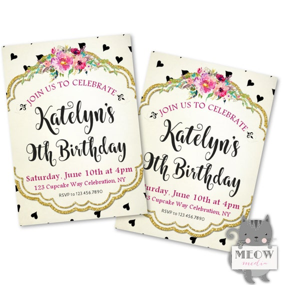 Hearts 9th Birthday Invitations For Girls Kids
